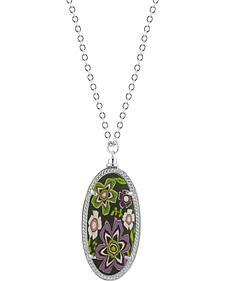 Jilzarah Prairie Silver Frame Pendant Necklace