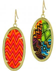 Jilzarah Santa Fe Gold Frame Earrings