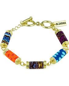 Jilzarah Santa Fe Tube Bead Gold Bracelet
