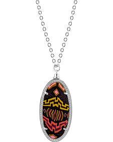 Jilzarah Sunset Silver Frame Pendant Necklace