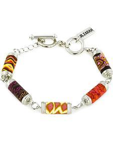 Jilzarah Sunset Tube Bead Silver Bracelet