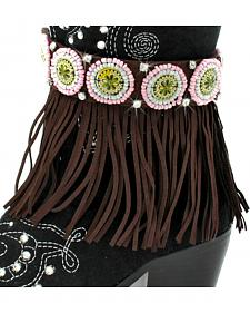 Isac West Women's Coffee and Pink Fringe Boot Chain