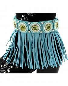 Isac West Women's Turquoise Fringe Boot Chain