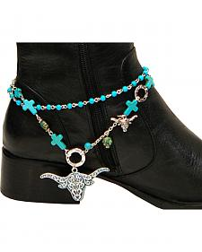 Isac West Women's Western Cross and Longhorn Boot Chain