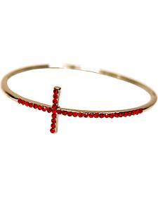 Isac West Women's Sideways Red Crystal Cross Bangle Bracelet