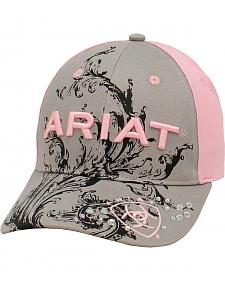 Ariat Women's Grey and Pink Scroll Ballcap