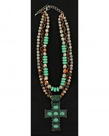 Blazin Roxx Antique Turquoise Cross Multi-Strand Necklace