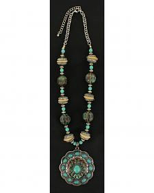 Blazin Roxx Antique Turquoise Concho Beaded Necklace