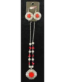 Blazin Roxx Red Stone Cross Necklace & Earrings Set