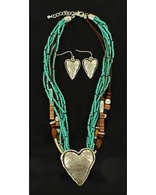 Blazin Roxx Multi Strand Heart Necklace & Earrings Set