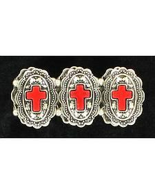 Blazin Roxx Red Cross Concho Bracelet