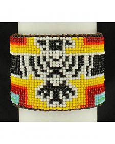 Blazin Roxx Thunderbird Beaded Leather Cuff Bracelet