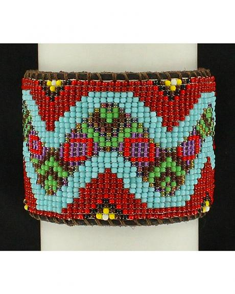 Blazin Roxx Snake Beaded Leather Cuff Bracelet