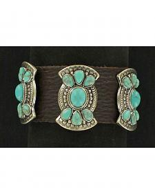 Blazin Roxx Fancy Concho Leather Cuff