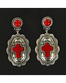 Blazin Roxx Oval Cross Drop Earrings