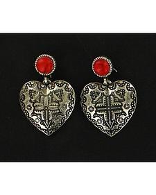 Blazin Roxx Engraved Heart Earrings