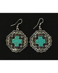 Blazin Roxx Faux Turquoise Cross Drop Earrings