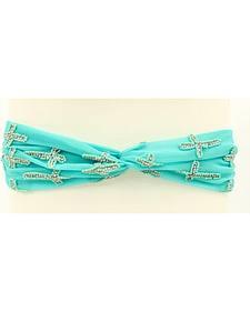Blazin Roxx Faux Turquoise Beaded Cross Headband