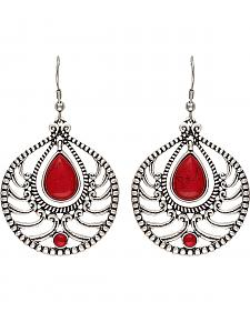 Wrangler Rock 47 Knotted Lace Red Stone Teardrop Earrings