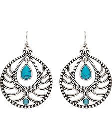 Wrangler Rock 47 Knotted Lace Blue Stone Teardrop Earrings