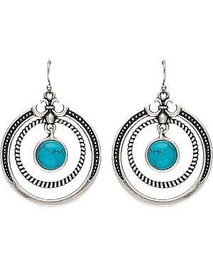 Wrangler Rock 47 Fleur de lis Blue Stone Double Loop Earrings