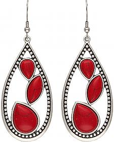 Wrangler Rock 47 Campfire Coals Red Sparks Teardrop Earrings