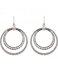 Wrangler Rock 47 Outlaw Rider Rope & Rhinestone Circle Earrings