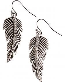 Wrangler Rock 47 Tattoo Art Rhinestone Feather Earrings