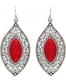 Wrangler Rock 47 Knotted Lace Red Marquis Earrings