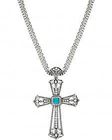 Wrangler Rock 47 Fleur de lis Blue Stone Cross Necklace