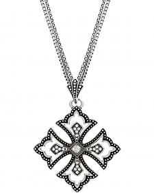 Wrangler Rock 47 Pins & Needles Scalloped Cross Necklace
