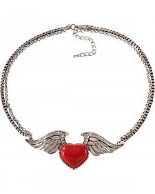 Wrangler Rock 47 Tattoo Art Red Stone Heart on Wings Necklace