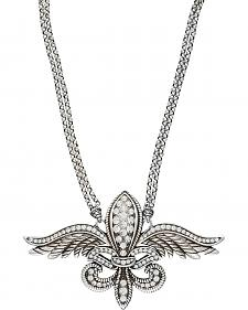 Wrangler Rock 47 Fleur de lis on Wings Necklace