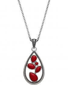 Wrangler Rock 47 Campfire Coals Red Sparks Teardrop Necklace