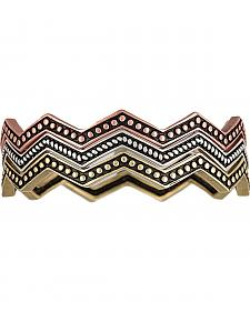 Wrangler Rock 47 Pins & Needles Tri-Color Triple Zig-Zag Bangle Bracelets