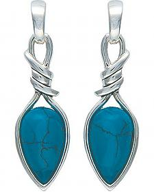 Montana Silversmiths Bittersweet Barbed Wire Pear-Shaped Turquoise Earrings