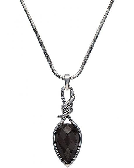 Montana Silversmiths Bittersweet Barbed Wire Pear-Shaped Black Onyx Necklace