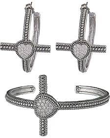 Montana Silversmiths Faith's Heart Cross Bracelet Jewelry Set