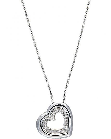 Montana Silversmiths Silver Tone & Crystal Nested Hearts Necklace