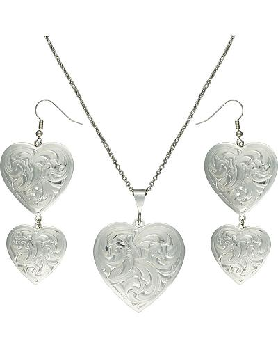 Montana Silversmiths Classic Heart Silver-Tone Concho Jewelry Set Western & Country JS2239