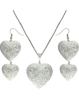 Montana Silversmiths Classic Heart Silver-Tone Concho Jewelry Set