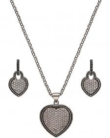 Montana Silversmiths Vintage Charm Quilted Heart Jewelry Set