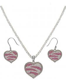 Montana Silversmiths Candied Collection Hearts Pink Zebra Stripes Jewelry Set