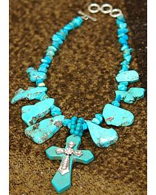 Isac West Chunky Slab Turquoise Necklace with Cross Pendant