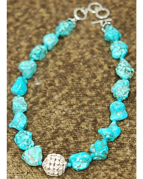 Isac West Crystal Ball Turquoise Necklace