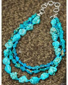 Isac West Three Strand Multi-Tone Turquoise Necklace