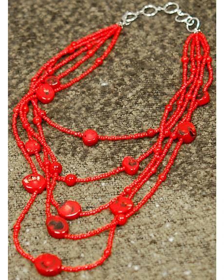 Isac West Layered Coral Stone Necklace