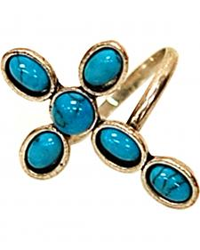 Isac West Cross Turquoise Adjustable Ring