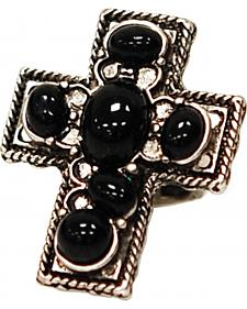 Isac West Cross Wide Stretch Ring in Black