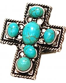 Isac West Cross Turquoise Wide Stretch Ring